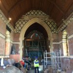 Repairs to the east window underway