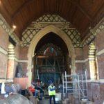 Repairs to the east window underway